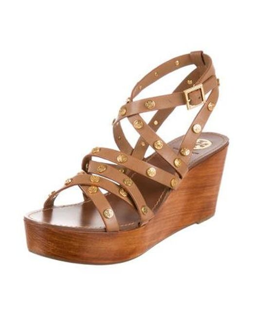 dc872770c0d ... Tory Burch - Natural Leather Flatform Sandals Tan - Lyst ...