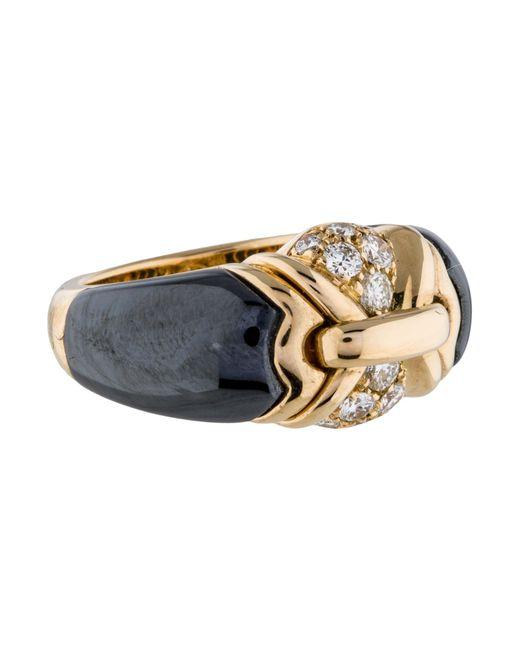 BVLGARI   Metallic 18k Vintage Diamond And Hematite Ring Yellow   Lyst
