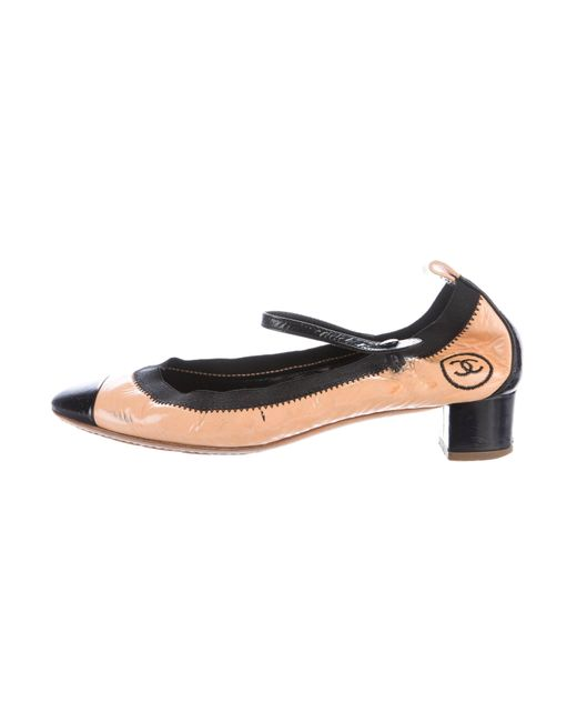 Chanel | Natural Stretch Spirit Patent Leather Pumps Tan | Lyst