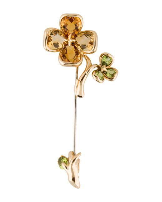 Chanel | Metallic 18k Camila Flower Brooch Yellow | Lyst
