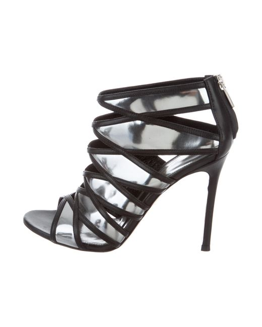 Gianvito Rossi | Gray Metallic Caged Sandals Pewter | Lyst
