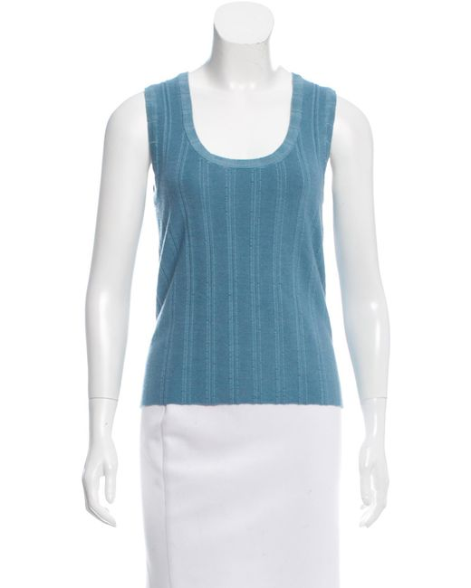 Marc Jacobs | Blue Cashmere Sleeveless Top | Lyst