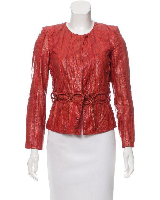 Roberto Cavalli   Red Embossed Leather Jacket   Lyst