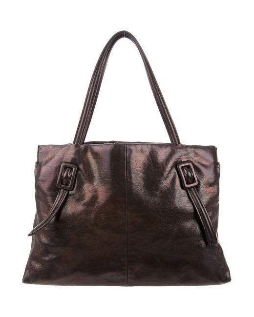 Roger Vivier   Metallic Buckle Leather Tote Black   Lyst