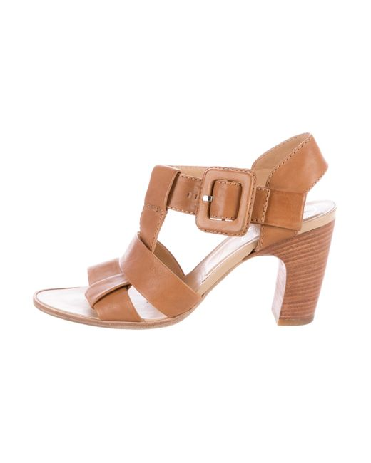 Roger Vivier | Metallic Leather Multistrap Sandals Cognac | Lyst