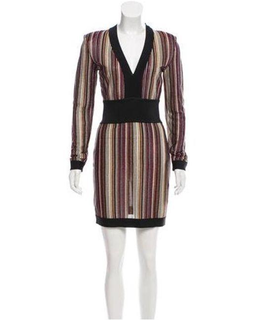 8a2c3cfe75a Balmain - Black Striped Metallic Dress - Lyst ...
