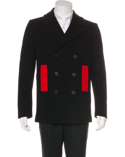 Givenchy - Black 2015 Wool Peacoat for Men - Lyst