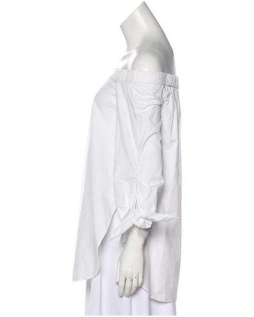 dd3294eca936b5 ... Tibi - White Off-shoulders Long Sleeve Top - Lyst ...