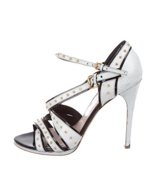 Miu Miu - Metallic Miu Studded Crossover Sandals White - Lyst