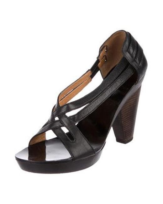 bf293b6b487 ... Givenchy - Black Leather Peep-toe Sandals - Lyst ...