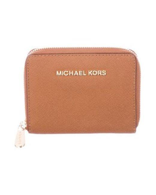 8895e98996ff MICHAEL Michael Kors - Metallic Michael Kors Saffiano Leather Compact Wallet  Brown - Lyst ...