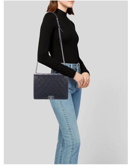 09abb592130a ... Chanel - Metallic Large Boy Bag Black - Lyst ...