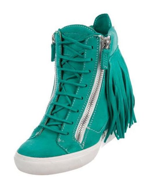 aaa5197815a2 ... Giuseppe Zanotti - Blue Suede Fringe Sneakers Turquoise - Lyst ...