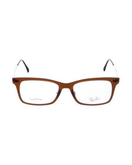 8e153208b9484 Ray-Ban - Brown Square Logo Eyeglasses - Lyst ...