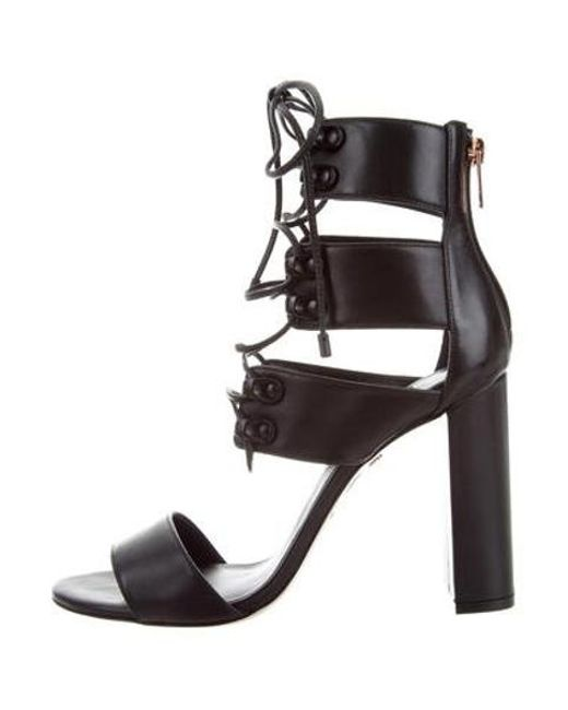 Ruthie Davis - Metallic French Lace-up Sandals Black - Lyst