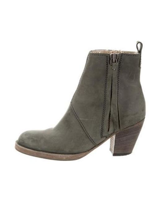 25814eed3fe1 Acne - Green Suede Ankle Boots Olive - Lyst ...