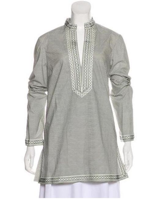 ccfd8fe2103 Tory Burch - White Printed Long Sleeve Tunic - Lyst ...