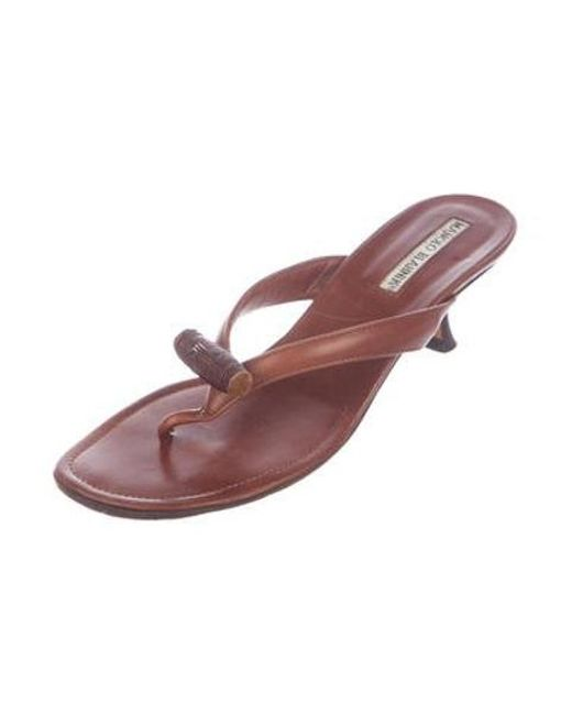 98bb86dc0d6d ... Manolo Blahnik - Natural Embellished Thong Sandals Tan - Lyst ...