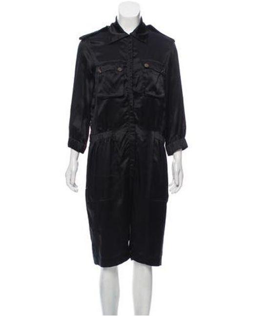 Lanvin - Black Silk Utility Jumpsuit - Lyst