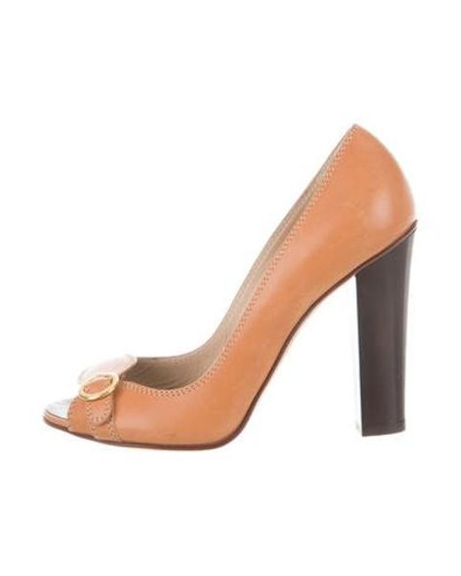 32b2592eafb Giuseppe Zanotti - Natural Leather Peep-toe Pumps Tan - Lyst ...