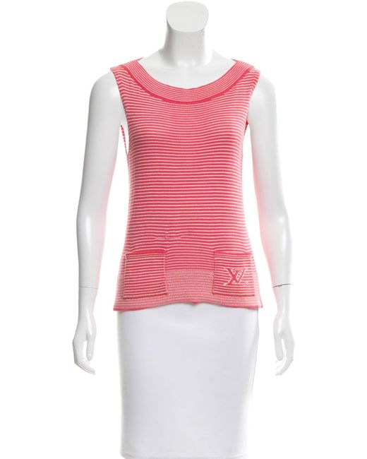 Louis Vuitton - Pink Striped Sleeveless Top - Lyst
