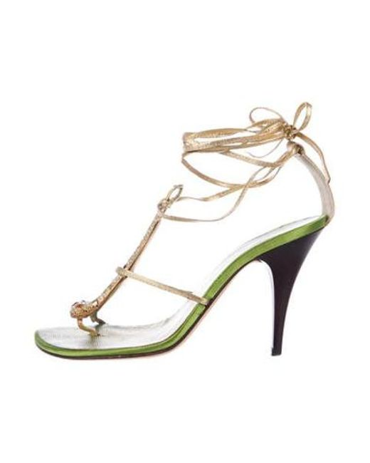 73aed4d2a Giuseppe Zanotti - Metallic Leather Embellished Sandals Gold - Lyst ...