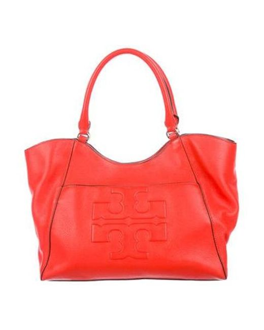 2012f5a17aa5 Tory Burch - Metallic Bombé-t Grained Leather Tote Gold - Lyst ...
