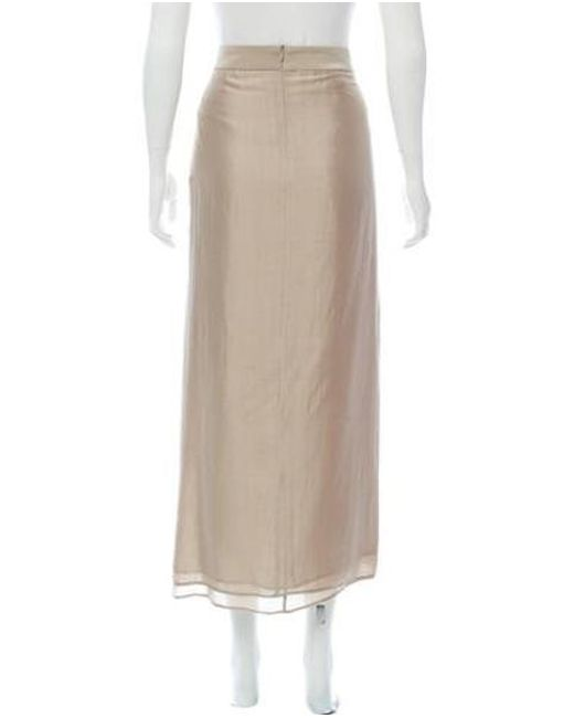 09c61ba7a ... Brunello Cucinelli - Natural Silk Midi Skirt Khaki - Lyst