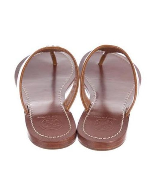 eb96f03365bdac ... Tory Burch - Metallic Cameron Thong Sandals W  Tags Tan - Lyst