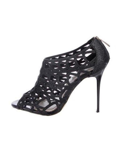 7bf60c1da3f Karen Millen - Black Glitter Caged Sandals - Lyst ...