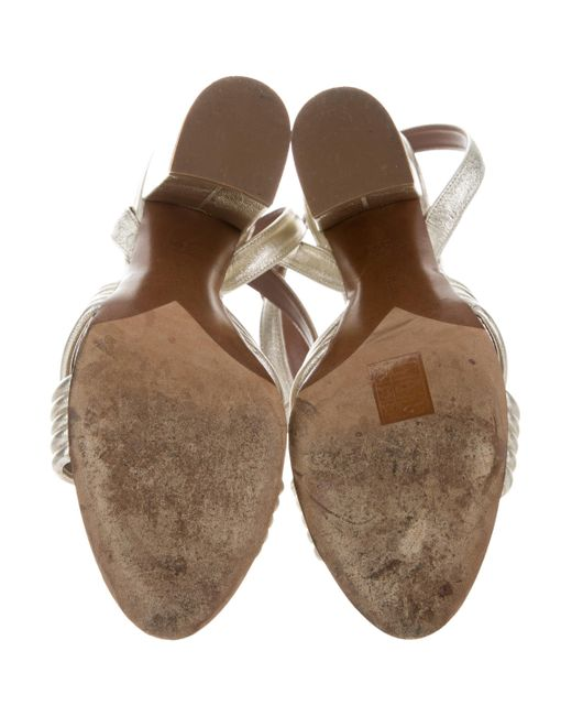 5bbc4919a579b8 ... Tabitha Simmons - Metallic Ankle Strap Sandals Silver - Lyst
