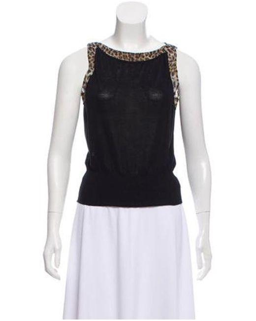 faa8b79905 Giambattista Valli - Black Silk-trimmed Sleeveless Top - Lyst ...