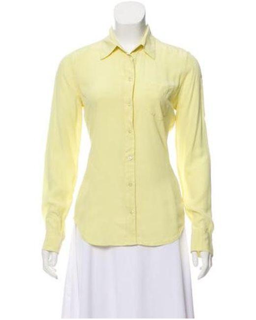 53e8d3b3 Equipment - Yellow Silk Button-up Blouse - Lyst ...