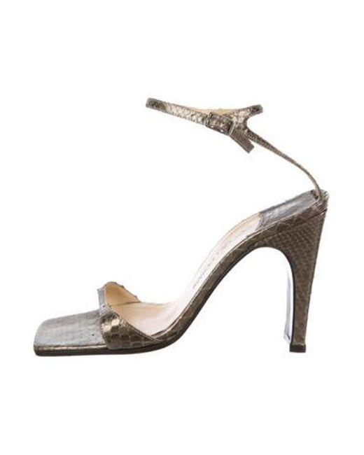 9729ba53dc4 Sergio Rossi - Metallic Snakeskin Ankle-strap Sandals Gold - Lyst ...