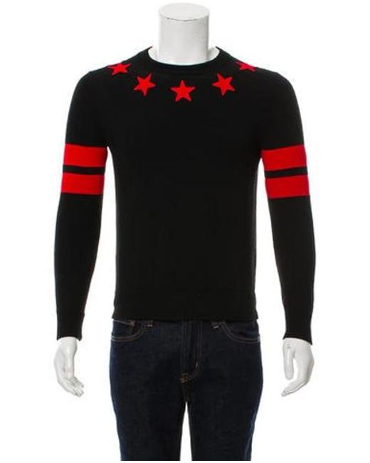 28a6b73d6f81c Givenchy - Black Star Embroidered Crewneck Sweater for Men - Lyst ...