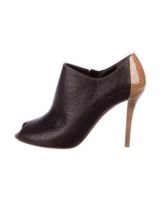 63e1579f6ddf Louis Vuitton - Brown Leather Peep-toe Booties - Lyst ...