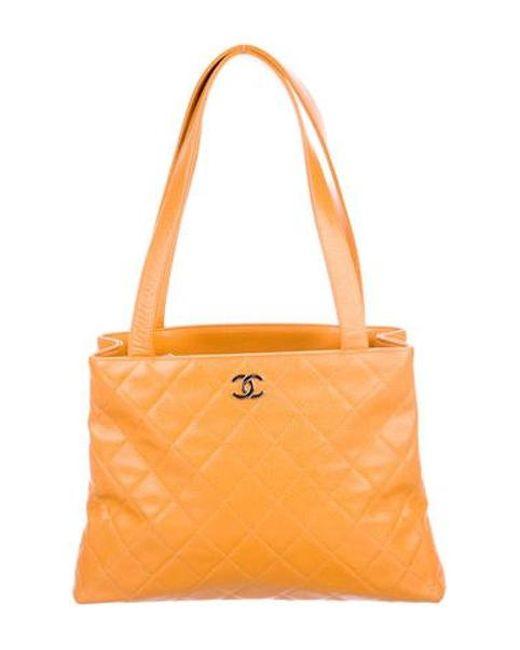 51cdc1c951f2 Chanel - Metallic Vintage Caviar Shopper Orange - Lyst ...