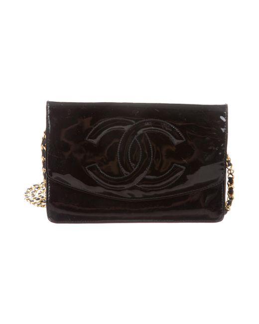 7f0052ee5af6 Chanel - Metallic Vintage Patent Wallet On Chain Black - Lyst ...