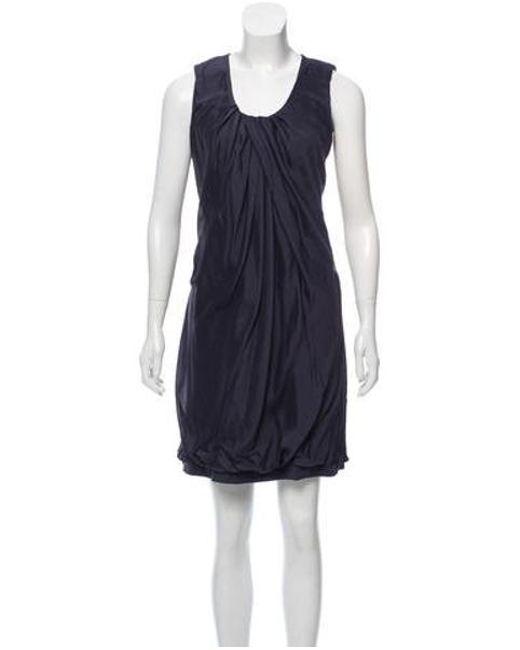 a939e805a8d2b Brunello Cucinelli - Gray Silk Scoop Neck Dress Grey - Lyst ...
