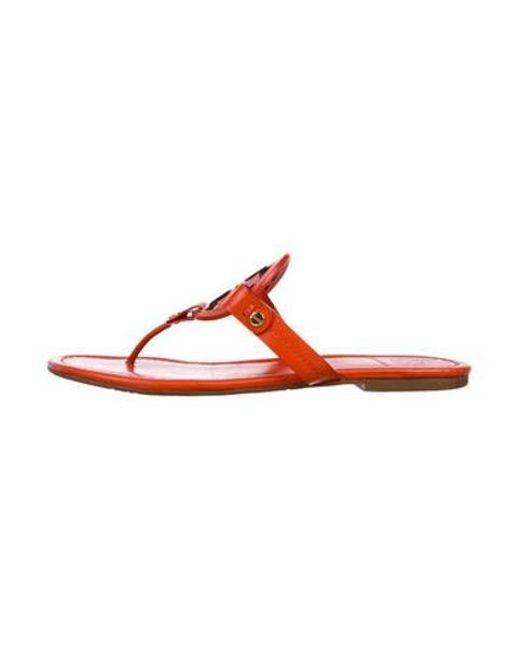 18d5dcf606f Tory Burch - Natural Miller Leather Sandals Orange - Lyst ...