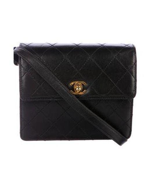 4f75ae1eb800 Chanel - Metallic Leather Flap Crossbody Bag Black - Lyst ...