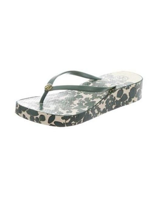 cd1f88b8d23013 ... Tory Burch - Green Thandie Landscape Print Sandals - Lyst ...