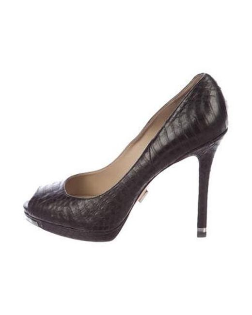 5790781024ab Michael Kors - Black Snakeskin Peep-toe Pumps - Lyst ...