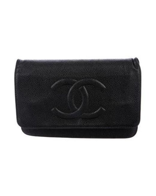 6c14652868c3 Chanel - Metallic Timeless Wallet On Chain Black - Lyst ...