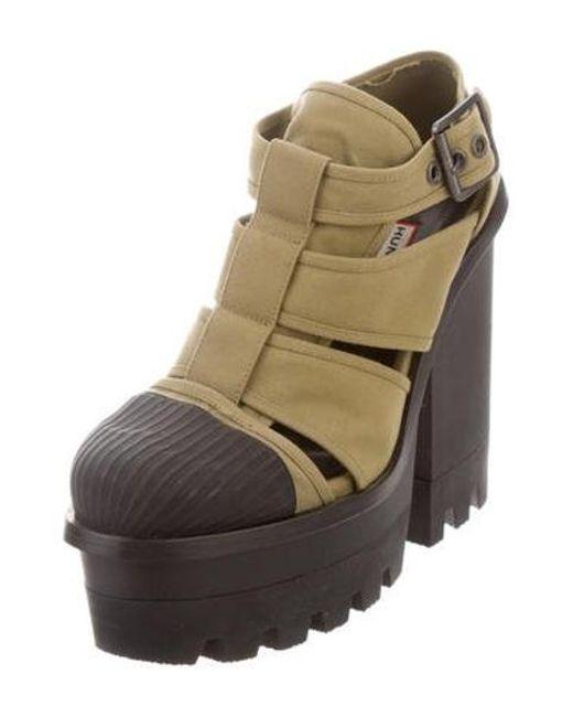 ee668332614 ... Hunter - Green Canvas Platform Sandals Olive - Lyst ...