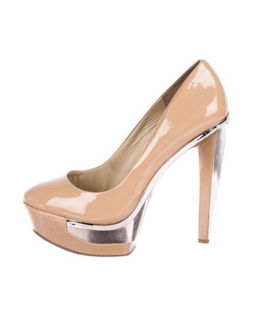1e38e5654e9c B Brian Atwood - Natural Platform Patent Leather Pumps Tan - Lyst ...