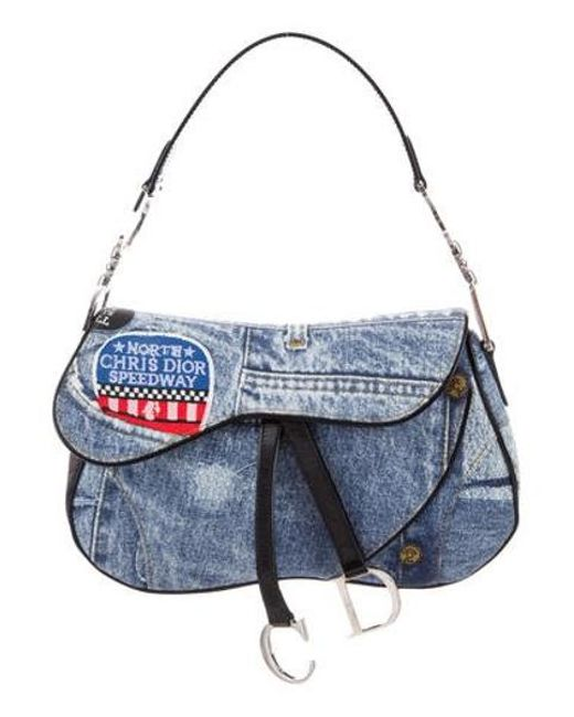 9b06177531b4 Dior - Metallic Speedway Denim Saddle Bag Blue - Lyst ...
