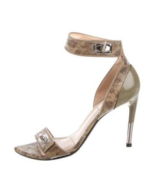 7844a7511273 Givenchy - Metallic Shark Lock Leather Sandals Olive - Lyst ...