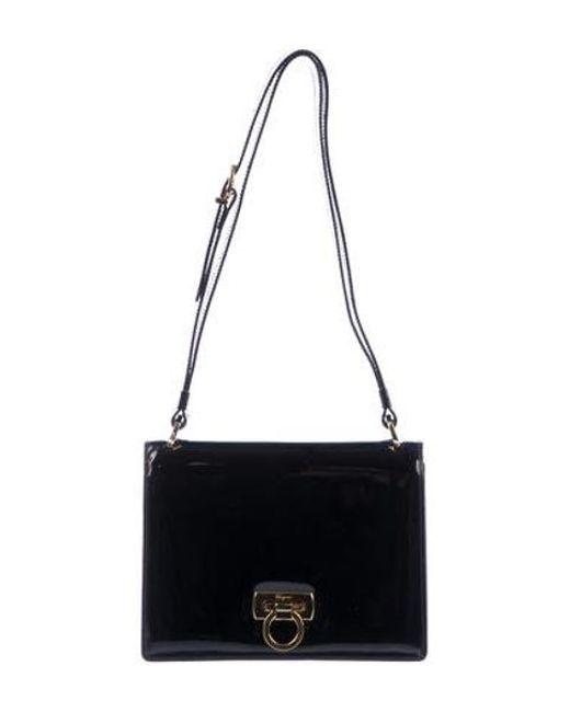 d70378bb3ec2 Ferragamo - Metallic Patent Leather Shoulder Bag Black - Lyst ...