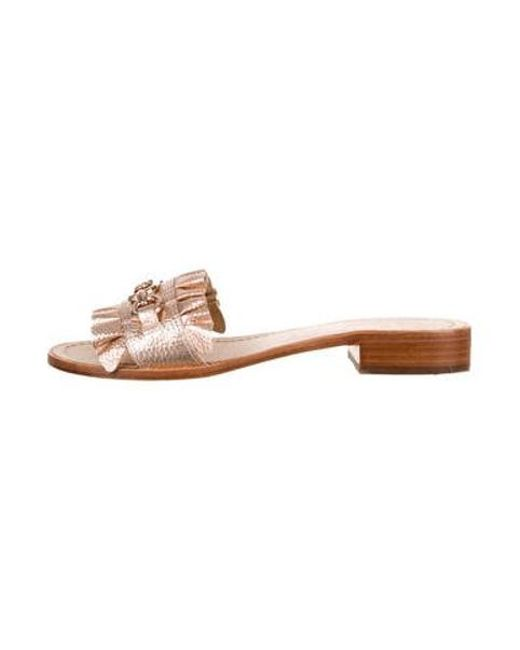 d9c70c689ead Kate Spade - Metallic Leather Slide Sandals - Lyst ...